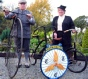 Harold Gadd from the Veterans Cycle Club shows the restored Wheel at Corwen. 2008